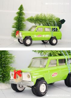 Decorate vintage tonka toys for Christmas. This DIY project is great for kids too!