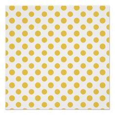 Sarı Beyaz Polka Desenli Poster
