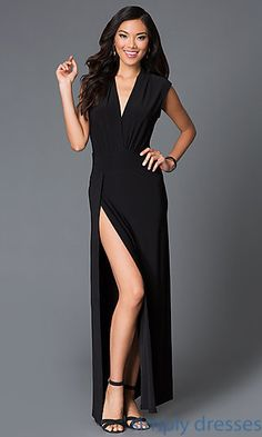 Floor Length Black Formal Dress with Lace Back