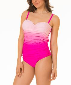 Pink Ombré Gathered Swimsuit