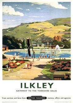 Vintage British Railways Travel Poster Ilkley Yorkshire Dales England
