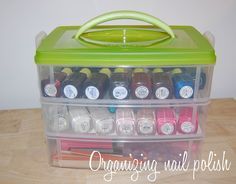 snapware snap n' stack to organize nail polish instead of putting it directly in front of the bathroom heater like a fool Teen Girl Decor, Teen Nails, Nail Polish Storage, Organization Hacks, Organizing Tips, Bathroom Organization, Bathroom Ideas, Craft Tutorials, Diy Projects
