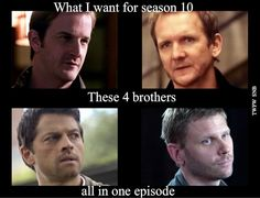 These 4 brothers all in one episode'' / YESSSS!!! Gabriel + Balthazar + Castiel + Lucifer :)
