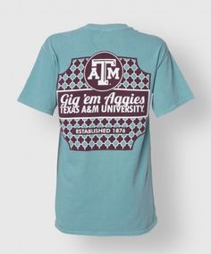 "This seafoam green shirt is perfect for the Aggie girl. The front features a maroon block ATM on the left side. The back has a unique pattern and has a white block ATM on the top with ""Gig 'Em Aggies"", ""Texas A University"", and ""Established 1876"" all below the block ATM. This shirt is perfect for looking girly and showing off your A pride!"