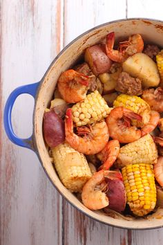 Old Bay Shrimp Boil is a simple one pot dish with shrimp, potatoes, corn and sausage. Perfect for a bbq, party, or end of summer dinner. Old Bay Shrimp Boil - Cooking is Messy Erika Murphy Food Old Bay Shrimp Boil is a simple one pot Seafood Boil Recipes, Shrimp Recipes, Fish Recipes, Shrimp Dishes, Pork Recipes, Crab Dishes, Entree Recipes, Copycat Recipes, Mad Hatter Tattoo