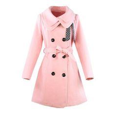 Hee Grand Women Wool Blends Coat Slim Trench Winter Coat Chinese M Pink
