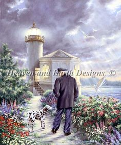 The Lighthouse Keeper - this man had an amazing romance with the love of his life, but it's not like anyone in the small coastal town could ever get it out of him. Free Cross Stitch Charts, Dmc Cross Stitch, Fantasy Cross Stitch, Cross Stitch Letters, Cross Stitch Books, Houses In America, Strange Weather, Lighthouse Keeper, Artist Materials