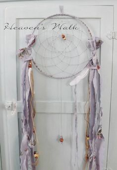 Pretty dream catchers, by Heaven's Walk. She uses Rachel Ashwell Shabby Chic fabrics