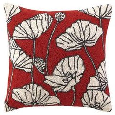 "Hand-hooked wool and cotton pillow with a poppy motif.  Product: PillowConstruction Material: Wool and cotton blend cover and polyester fillColor: RedFeatures:  Insert includedHand-hooked Dimensions: 20"" x 20""Cleaning and Care: Spot clean"