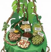 Beautifully done jungle tablescape, that works just as well for a wild things party.