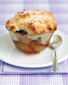 Peach Cobblers - Filling - sugar - cornstarch - peaches - lemon - Topping - flour - unsalted butter - low fat buttermilk