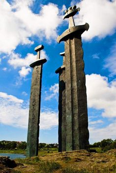 "3 Giant Viking Swords made entirely of bronze make up Norway's incredible monument titled ""Sverd i fjell"" Set deep in stone, these swords commemorate the Historic Battle of Hafrsfjord, which took place in the year 872."