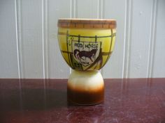 Large Vintage Hand painted Porcelain Red Horse Inn Egg Cup