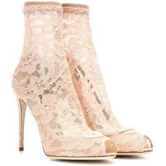 Dolce & Gabbana Lace Ankle Boots ($945) ❤ liked on Polyvore featuring shoes, boots, ankle booties, ankle boots, high-heel, pink, pink ankle boots, lace-up bootie, pink high heel boots and pink boots