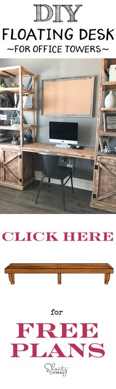 DIY Floating Desk and Office Storage Towers! Build it yourself with the free printable plans for www.shanty-2-chic.com