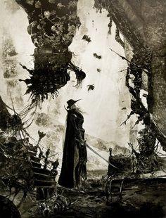 Vampire Hunter D, by Yoshitaka Amano, Watercolor, c.1985