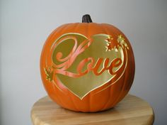 Love with Leaves, Carved Decorative Fall Wedding Pumpkin. Love this for a fall wedding! So neat! Fall Pumpkins, Halloween Pumpkins, Fall Halloween, Carved Pumpkins, Pumpkin Carvings, Pumpkin Wedding, Autumn Wedding, Wedding Pumpkins, Wedding Bride
