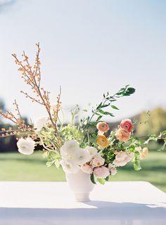 Elegant wedding florals: http://www.stylemepretty.com/california-weddings/fallbrook/2017/02/17/peach-spring-outdoor-wedding/ Photography: Sara Weir - https://www.saraweirphoto.com/
