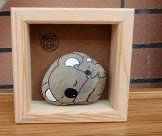 石趣部落 原创手绘石头 盒装可爱树袋熊母子 礼物