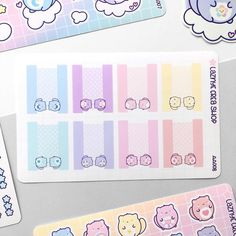 Care Cats Tabs Stickers – LaznyeCreaShop Vinyl Sticker Paper, Cute Stickers, How To Draw Hands, Doodles, Bullet Journal, Rainbow, Cats, Rain Bow, Rainbows