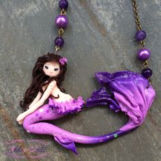 #Pink and #purple #mermaid made out of #fimo / #polymerclay, avaible on #Etsy