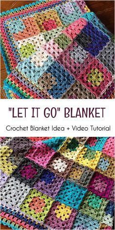 """Easy Crochet Afghans """"Let it Go"""" Crochet Blanket Idea And Easy Video Tutorial Crochet Afghans, Easy Crochet Blanket, Crochet For Beginners Blanket, Crochet Quilt, Afghan Crochet Patterns, Diy Crochet, Crochet Blankets, Granny Square Crochet Pattern, Crochet Squares"""