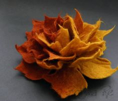 New Copper Honey Ombre Felt Flower Brooch Handmade to by Brigite, $29.00