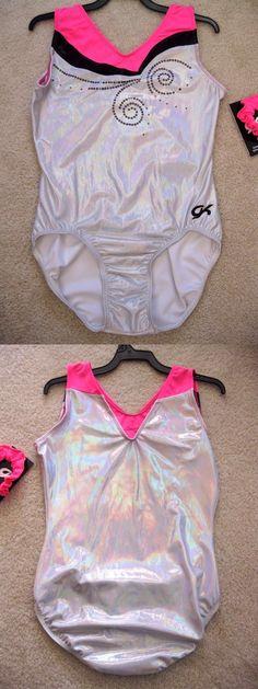 Women 159169: Nwt Gk Elite Silver Foil Hot Pink Black Gymnastics Leotard Adult Large Al BUY IT NOW ONLY: $39.95