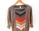 Tribal Arrow HAND STENCILED Slouchy Eco Heather Deep Scoop Neck Lightweight Sweatshirt in Rust and Black - S M L XL. $46.00, via Etsy.