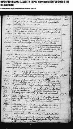 Marriage record of John Kirk and Elizabeth Lang, 1840, Kilmalcolm, Renfrewshire