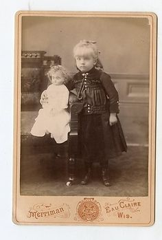 Cabinet Card Vintage Photo Beautiful Lil Girl with Doll Eau Claire Wisconsin | eBay