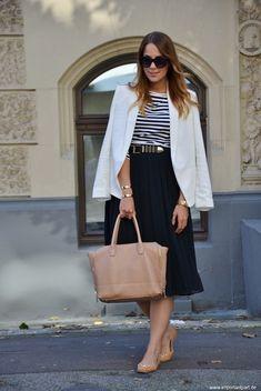 Nautical theme with a midi skirt