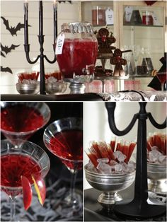 "Blood Bar Cocktails- recipes have alcohol, but that can be eliminated. Also has ideas for how to make glasses that ""drip blood"", etc. all goes with the other Blood Bar Party ideas."