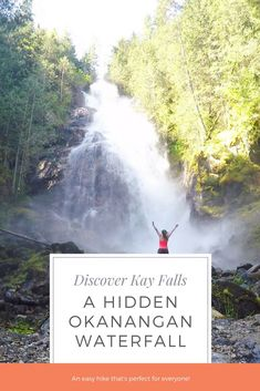 Kay Falls, BC is a hidden waterfall located on the Trans-Canada Highway in the North Okanagan-Shuswap between Sicamous and Revelstoke. It's an easy hike and is perfect for the whole family to explore. Take your family to Kay Falls on your next road trip! Cool Places To Visit, Places To Travel, Trans Canada Highway, Waterfall Trail, Canada Destinations, Visit Canada, Koh Tao, Canada Travel, British Columbia