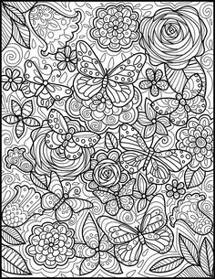 Printable coloring page with butterflies for hours of fun. Instant download coloring page for printing on any paper you prefer. Butterflies offer lots of variety to color and will allow you to relax and release stress. You can choose your medium for this coloring page - pencils,