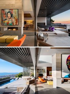 The living room in this modern house opens out to a covered outdoor space with a bar area, lounge and a plunge pool. Interior Exterior, Interior Architecture, Portraits Pop Art, New Modern House, Deco Cool, Moderne Pools, Interior Decorating, Interior Design, Living Room Bedroom