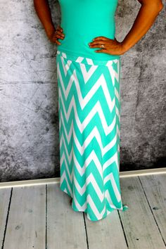 Mint and White Chevron Maxi skirt for Teen's or by Gogreenstyle, $50.00