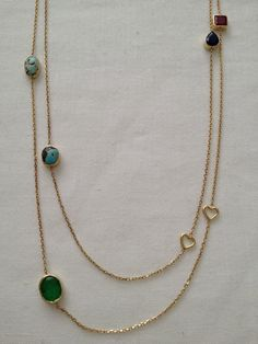 14 ct. gold and mix stones necklace (90 cm.)