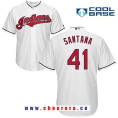 Men s Cleveland Indians  41 Carlos Santana White Home Stitched MLB Majestic  Cool Base Jersey 3e099682d