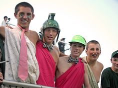 Christ School students dressed in pink to honor National Breast Cancer Awareness Month at Friday's football game. October 2012.