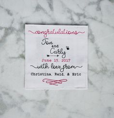 wedding quilt label personalized with your information. Made by hand and printed on cotton fabric. www.bordercityquilts.etsy.com Sewing Labels, Fabric Labels, Quilt Labels, Personalized Labels, Personalized Wedding, Sewing Leather, Cotton Quilting Fabric, Quilting Designs, Hand Sewing