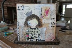 """Canvas 10""""x10"""" piece I made of my Paige doll, inspired by Christy Tomlinson."""