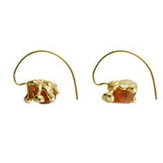 Raw Spessartite Garnet Molten Earrings — The Rock Hound Jewellery Uk, High Jewelry, The Rock, Garnet, Gold Rings, Jewels, Gemstones, Crystals, Metal