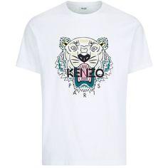 Kenzo Tiger Print T-Shirt (145 845 LBP) ❤ liked on Polyvore featuring men's fashion, men's clothing, men's shirts, men's t-shirts, mens straight hem shirts, mens cotton t shirts, mens cotton shirts and mens tiger print shirt
