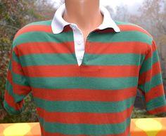 vintage 60s polo golf shirt orange green STRIPE by skippyhaha, $15.00