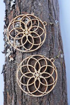 Filigree Laser Cut Wood Earrings / women jewelry by Lubawastyle