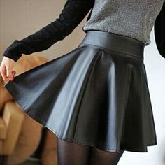 New 2018 PU Leather Vintage Women Stretch High Waist Preppy Style Multicolor Skater Flared Pleated Mini Skirt Women's Mini Skirts, Pleated Mini Skirt, Red Skirts, Casual Skirts, Short Skirts, Maxi Skirts, Faux Leather Dress, Leather Dresses, Leather Mini Skirts