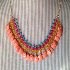 """30% off 3NWT Multi-Colored Statement Necklace NWT 18""""-22"""" I have it in the other two blue colors. Buy 2 for $25. Jewelry Necklaces"""