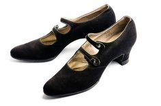 Black suede shoes, 1920s. These shoes were never worn but used at the popular Ellison's Shoe Store in Charleston for display until they closed in 2002. These shoes have O'Sullivan's rubber heel caps, first patented by Humphrey O'Sullivan in 1899.