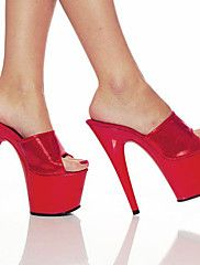 Red PVC Upper 6.5cm Platform 16.5cm Stiletto Heel Peep Toe Women's Slippers/Sandals
